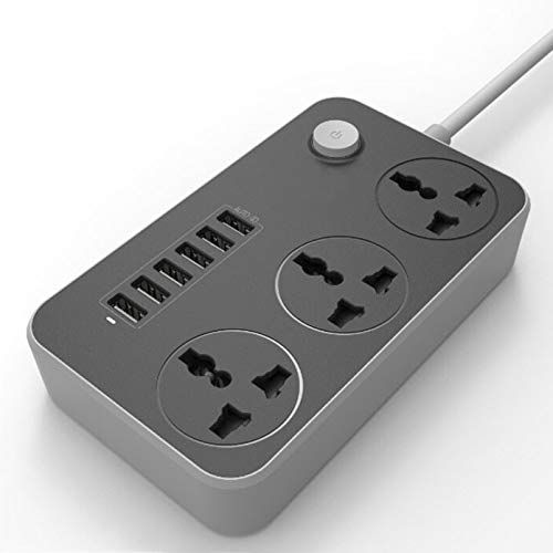 Plantex Power Strip with 3 Socket and 6 USB Ports Universal Spike Guard with Light/Extention Board