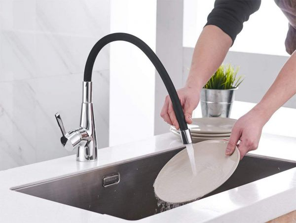 Plantex Brass Single Lever Kitchen Sink Mixer with 360 Swivel Spout and Flexible Silicone Taps (Black)