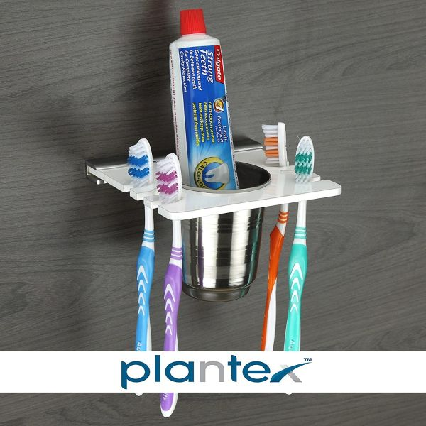 Plantex Tooth Brush Holder Tumbler for Bathroom for Home (5 Inch, Acrylic, White)