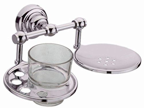Plantex Platinum Stainless Steel 304 Grade Skyllo 2in1 Soap Dish with Tumbler Holder/Soap Stand/Tooth Brush Holder/Bathroom Accessories(Chrome)