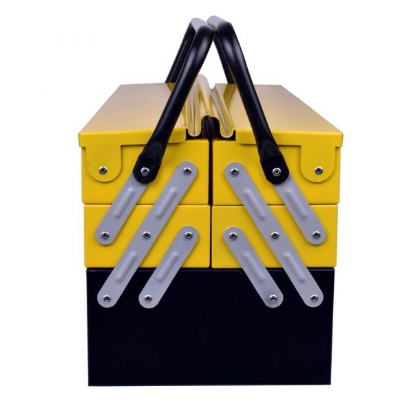 Plantex High Grade Metal Tool Box for Tools/Tool Kit Box for Home and Garage/Tool Box Without Tools-5 Compartment(Yellow & Black)
