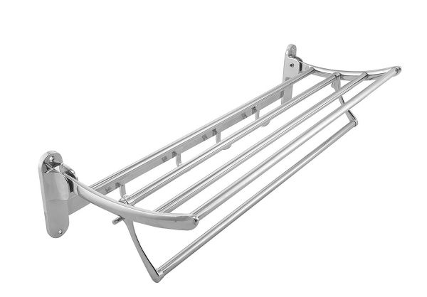 Plantex High Grade Stainless Steel Folding Towel Rack(24 Inches) with Premium Glass Shelf/Bathroom Shelf Corner Pack of 3 (9 X 9 Inches)