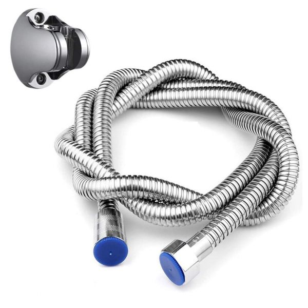 Plantex ABS Hand Shower for Bathroom with 1.5 Meter 304 Stainless Steel and Hose Pipe and Holder(Black-Chrome)