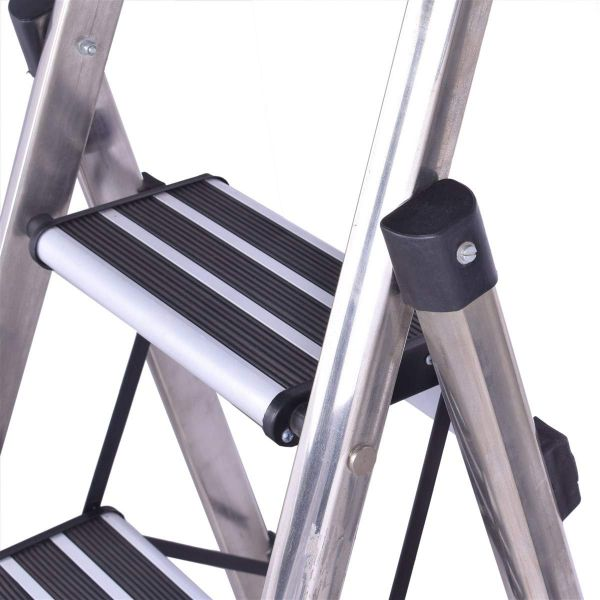 Plantex High Grade Stainless Steel Folding 5 Step Ladder for Home - 5 Wide Anti Skid Steps (Silver & Black)