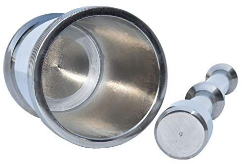Plantex Heavy Stainless Steel Mortar and Pestle Set/Khalbatta/Spice Mixer for Kitchen(Silver-Size1)