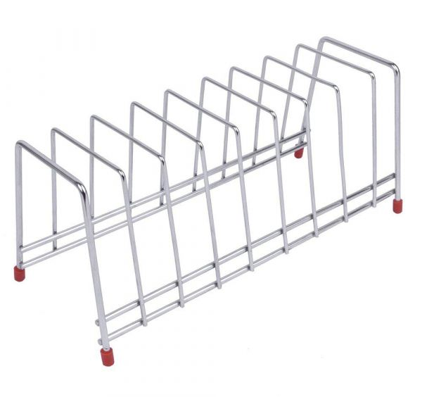 Plantex High Grade Stainless Steel Square Plate Rack/Dish Rack/Thali Stand/Dish Stand/Utensil Rack/Chrome (Silver)