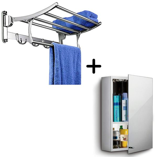 Plantex High Grade Stainless Steel Folding Towel Rack (24 Inches) with Platinum 304 Grade Stainless Steel Bathroom Mirror Cabinet (10x16 Inches)