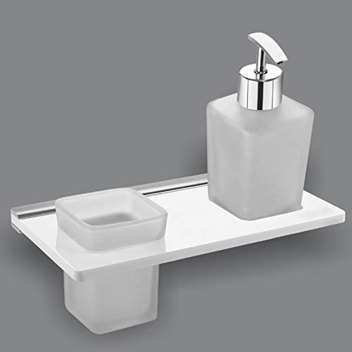 Plantex 8 mm Acrylic 2in1 Liquid Soap Dispenser with Tumbler Holder/Soap Stand/Tooth Brush Holder/Bathroom Accessories