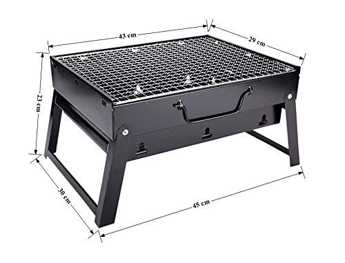 Plantex Portable Metal Outdoor Briefcase Style Folding Barbecue Grill Toaster/Barbeque Grill Charcoal(Black)