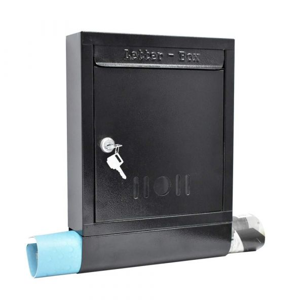 Plantex High Grade Metal Wall Mount Letter Box for gate and Wall with Magazine Holder/News Paper Holder/Outdoor Mailboxes with Key Lock (Black)