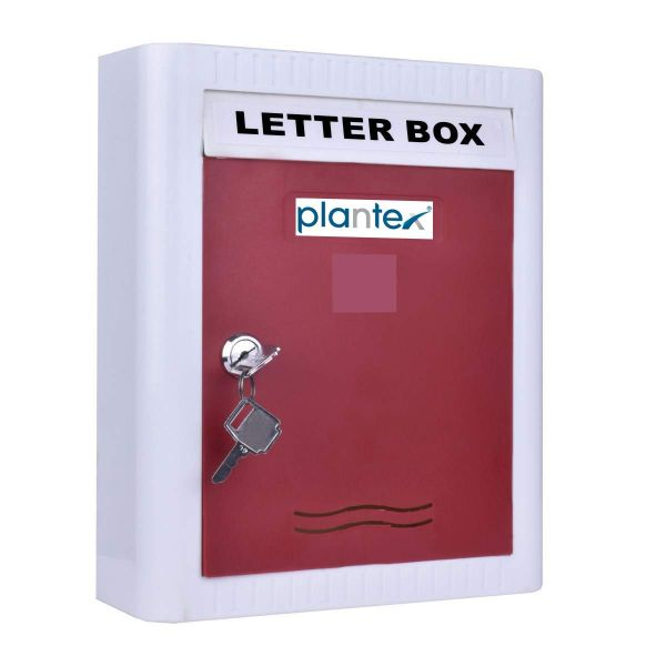 Plantex Virgin Plastic Wall Mount A4 Letter Box - Mail Box/Outdoor Mailboxes Home Decoration with Key Lock (Red & White)