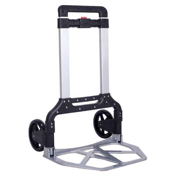 Plantex Folding Heavy-Duty Goods Trolley Cart/Luggage Trolley with Telescoping Handle and Rubber Wheels(Silver)