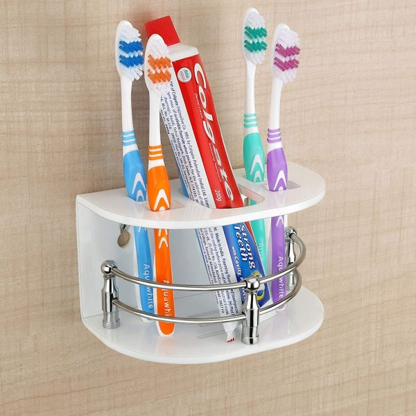 Plantex High Grade Acrylic Tooth Brush Holder/Stand/Tumbler for Bathroom Accessories for Home (7-inch; White)