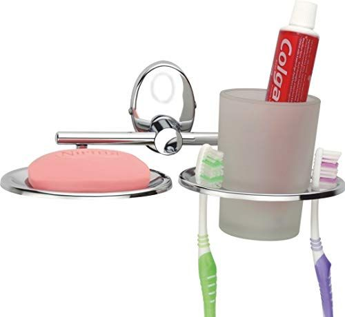 Plantex Platinum Stainless Steel 304 Grade Ellipse 2in1 Soap Dish with Tumbler Holder/Soap Stand/Tooth Brush Holder/Bathroom Accessories