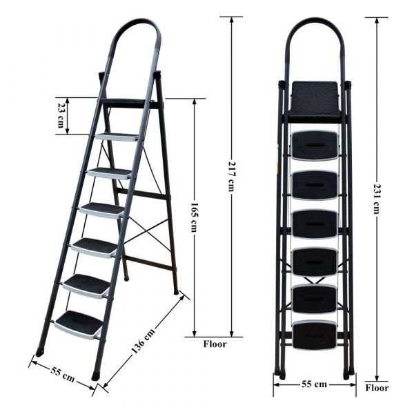 Plantex Extra Height Steel Folding 7 Step Ladder for Home (7.2 Feet) Wide Anti Skid Steps (Gray & White)