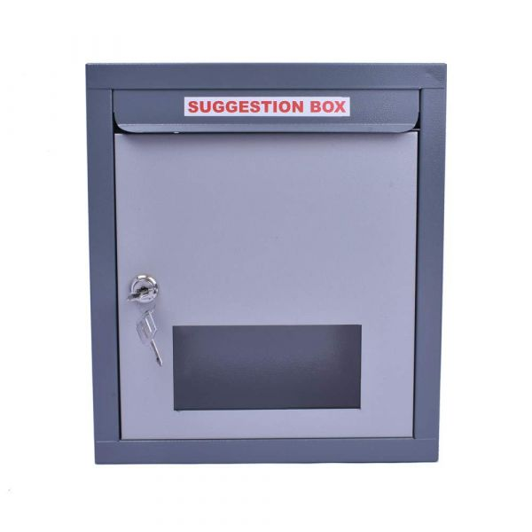 Plantex All in 1 Multipurpose Letter Box/Suggestion Box/Complaint Box/Donation Box with Lock Table Top or Wall Mount (Grey)