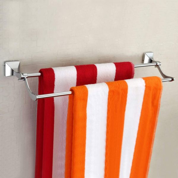 Plantex Stainless Steel Folding Towel Rod/Folding Towel Hanger for Bathroom/Towel Stand/Bathroom Accessories(24 Inch-Chrome/Silver)