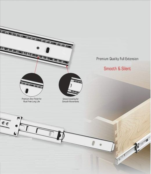 Plantex Stainless Steel 5 Ball Bearing Telescopic Slide/Drawer Channel -12 Inches (Silver)