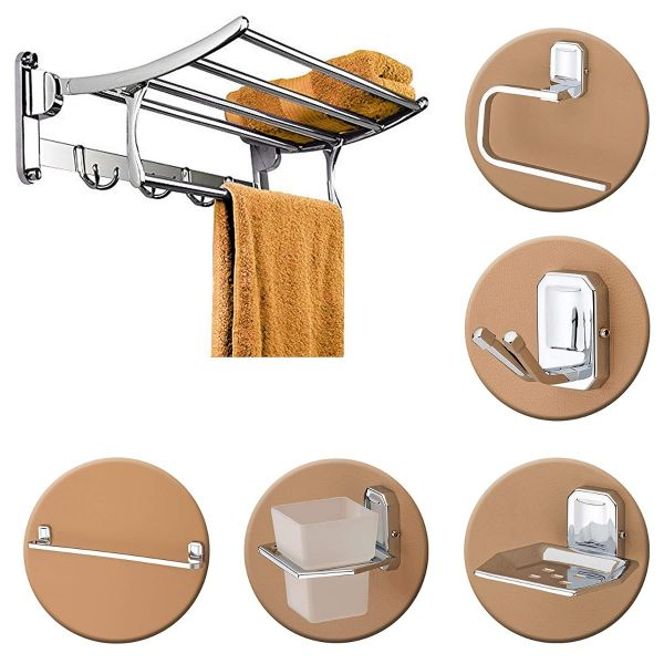 Plantex High Grade Stainless Steel Folding Towel Rack with Stainless Steel 304 Grade Cute Bathroom Accessories Set 5pcs (Towel Rod/Napkin Ring/Tumbler Holder/Soap Dish/Robe Hook)