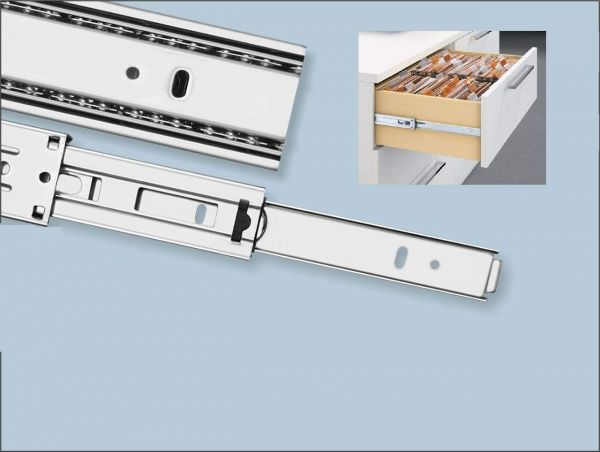 Plantex Stainless Steel 5 Ball Bearing Telescopic Slide/Drawer Channel -18 Inches (Silver)