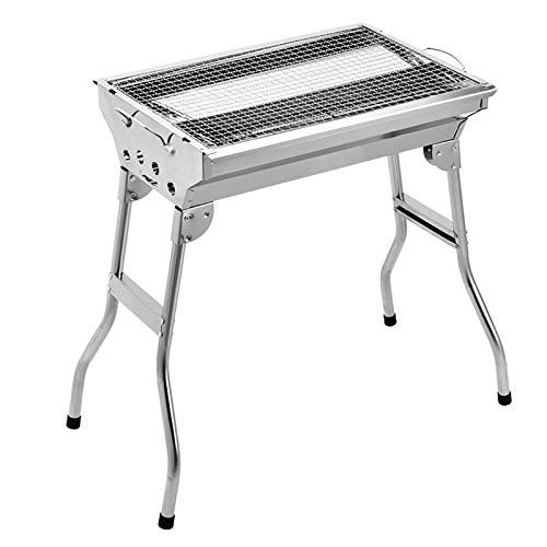 Plantex Portable Stainless Steel Barbeque Grill Charcoal/Outdoor Folding Toaster Barbecue Grill/Easy to Carry(Silver)