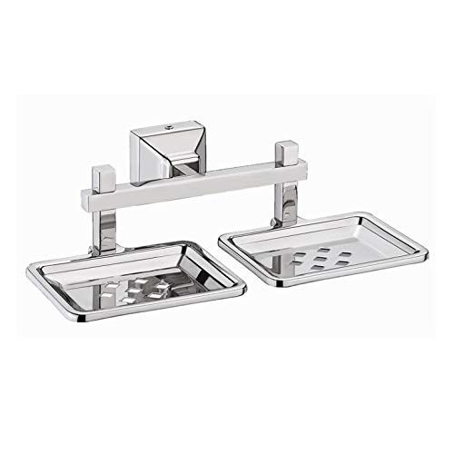 Plantex Squaro Stainless Steel 304 Grade Double Soap Holder for Bathroom/Soap Dish/Bathroom Soap Stand/Bathroom Accessories (Chrome)