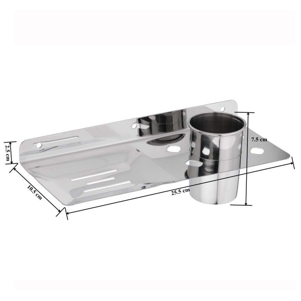 Plantex Platinum Stainless Steel Soap Dish with Tumbler Holder Bathroom Accessories - Pack of 1