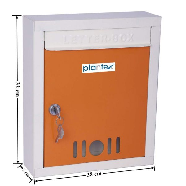 Plantex High Grade Metal Wall Mount A4 Letter Box - Mail Box/Outdoor Mailboxes Home Decoration with Key Lock (Orange & Ivory)