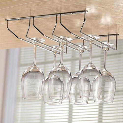 Plantex Wine Glass Rack/Holder Upside Down Glass Hanging Organizer for Pubs/Kitchen/Bars (Double Line - Triple)