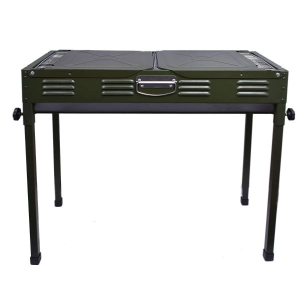 Plantex Portable Big Size Metal Wings Style Outdoor Folding Barbecue Grill Toaster Charcoal Barbeque (Green)
