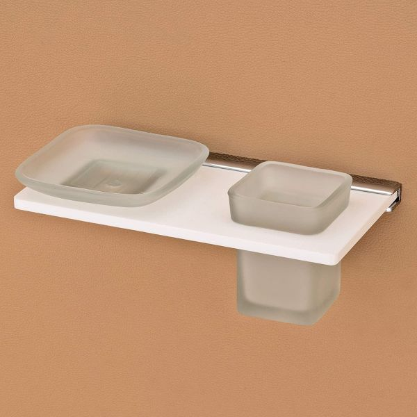 Plantex 8mm Acrylic and Glass 2in1 Soap Dish with Tumbler Holder/Soap Stand/Tooth Brush Holder/Bathroom Accessories