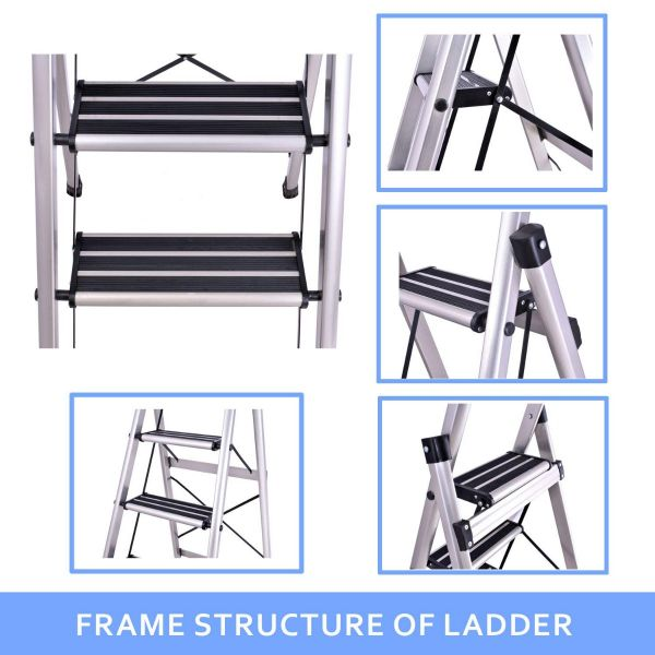 Plantex Prime 5 Step Foldable Aluminium Ladder for Home Use/Wide Anti Skid Step Ladder (Anodize Coated Silver)