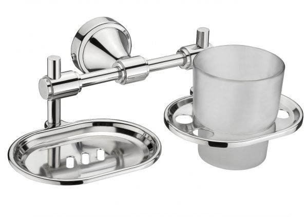Plantex Niko Stainless Steel 304 Grade Cute 2in1 Soap Dish with Tumbler Holder/Soap Stand/Tooth Brush Holder/Bathroom Accessories (Chrome)