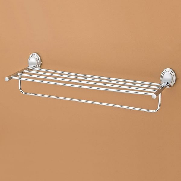 Plantex Stainless Steel 304 Grade Cubic Towel Rack for Bathroom/Towel Stand/Hanger/Bathroom Accessories (24 Inch-Chrome)