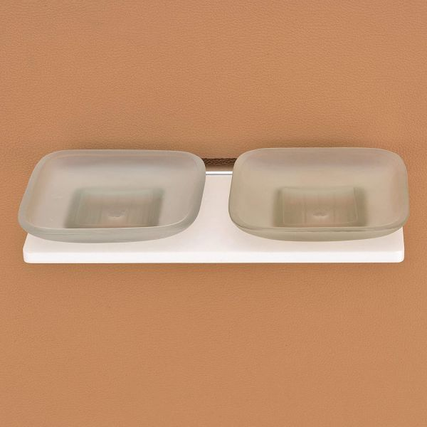 Plantex 8 mm Acrylic Double Soap Dish/Soap Stand/Bathroom Soap Holder/Bathroom Accessories for Home
