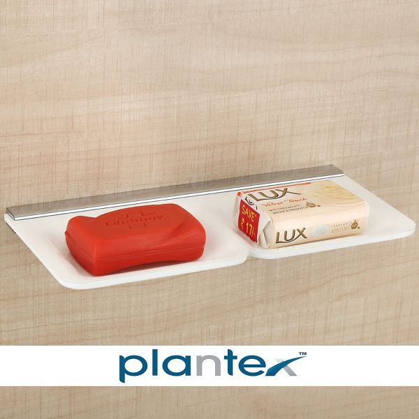 Plantex Double Soap Holder Bathroom Accessories for Home (11 Inch, Acrylic, White)