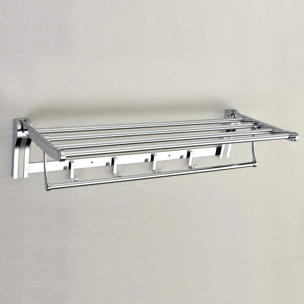 Plantex Stainless Steel High Grade Folding Towel Rack for Bathroom/Towel Stand/Hanger/Bathroom Accessories (24 Inch-Silver)