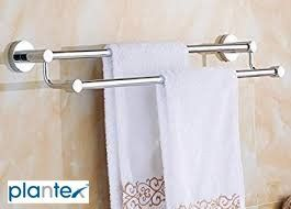 Plantex High Grade Stainless Steel Towel Rod/Towel Rack for Bathroom/Towel Bar/Hanger/Stand/Bathroom Accessories (24 Inch - Chrome Finish) - Pack of 1