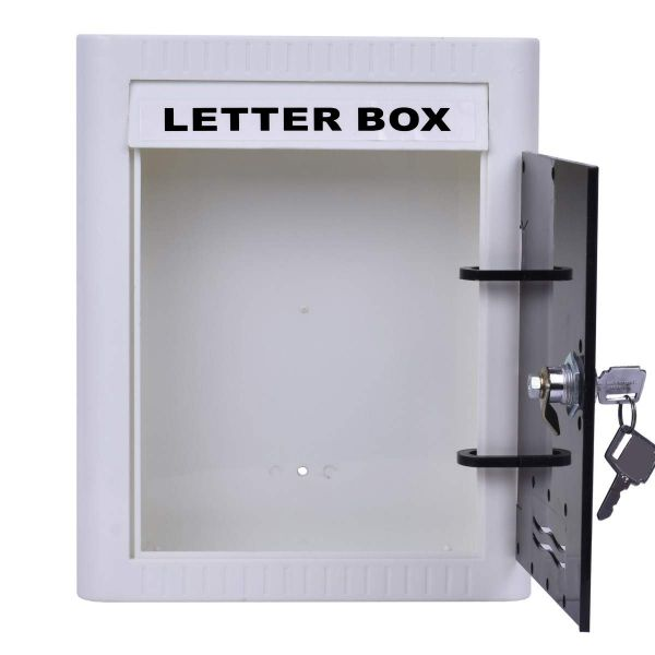 Plantex Virgin Plastic Wall Mount A4 Letter Box - Mail Box/Outdoor Mailboxes Home Decoration with Key Lock (Black & White)