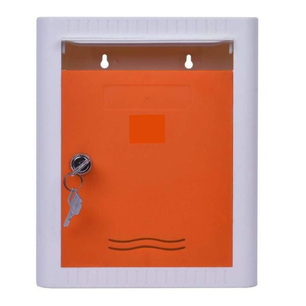 Plantex Virgin Plastic Wall Mount A4 Letter Box - Mail Box/Outdoor Mailboxes Home Decoration with Key Lock (Orange & White)