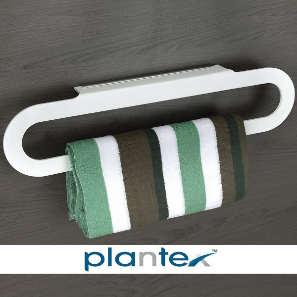 Plantex Acrylic Towel Hanger for Bathroom/Towel Rod-Stand/Bathroom Accessories for Home(24 Inch,Capsule-White)