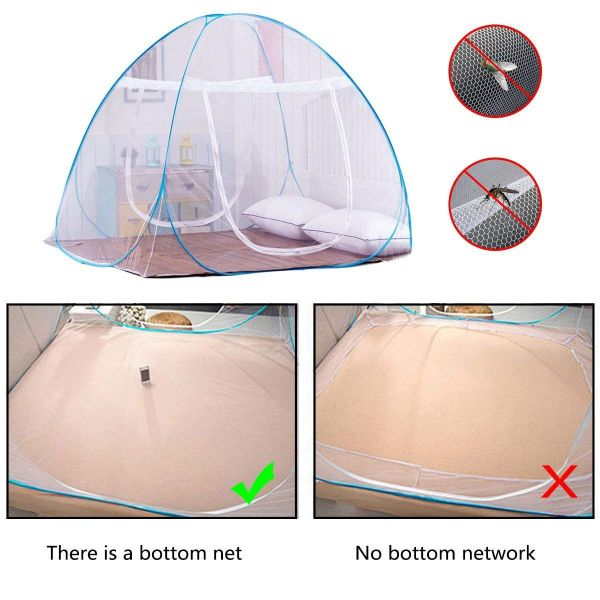 Plantex King Size Mosquito Net for Double Bed/Folding / Quality Lightweight Material for Home and Travel - Easy to Carry & Setup - Blue