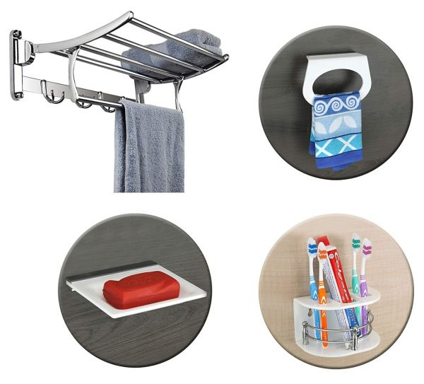 Plantex High Grade Stainless Steel Folding Towel Rack/Towel Stand/Hanger (24 Inches) with Premium Acrylic Toothbrush Holder/Soap Dish/Napkin Ring/Bathroom Accessories for Home