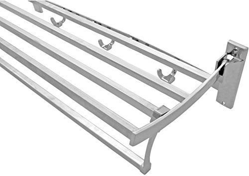 Plantex High Grade Stainless Steel Folding Towel Rack For Bathroom/Towel Stand/Hanger/Bathroom Accessories (18 Inch - Square)