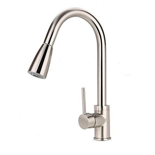 Plantex Modern Lead-Free Solid Brass (360 Degree) Swivel Spout Single Lever Pull Out Kitchen Sink Tap/Kitchen Mixer Tap Hot & Cold (Chrome)