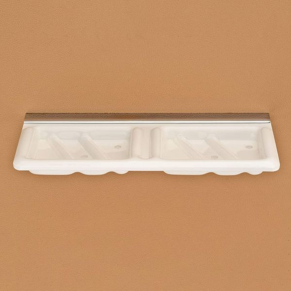 Plantex Super 5mm Acrylic Dual Soap Dish/Soap Holder/Soap Stands for Bathroom Wall (White)