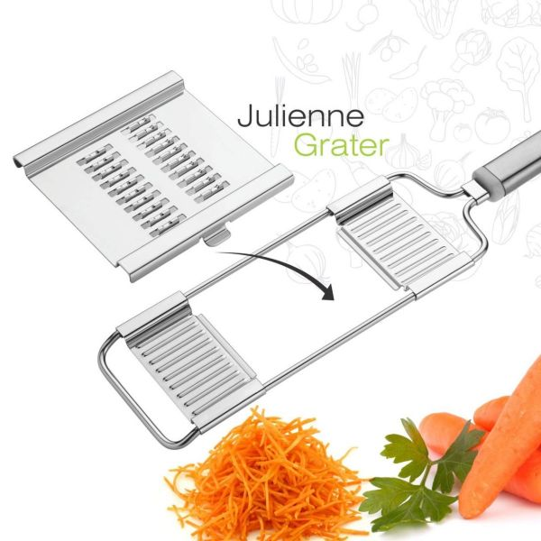 Plantex 6in1 Stainless Steel Grater and Slicer/Vegetable Cutter/French Fries Cutter/Potato Chips Cutter(Silver)
