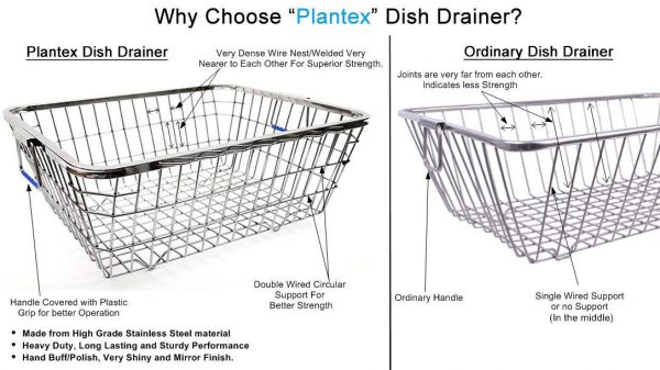 Plantex High Grade Stainless Steel Dish Drainer/Dish Drain Rack/Plate Stand/Kitchen Accessories - Lifetime Warranty (Size 2)