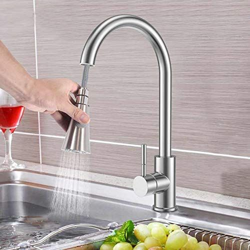 Plantex Modern Lead-Free Solid Brass (360 Degree) Swivel Spout Single Lever Pull Out Kitchen Sink Tap/Kitchen Mixer Tap Hot & Cold (Matt)