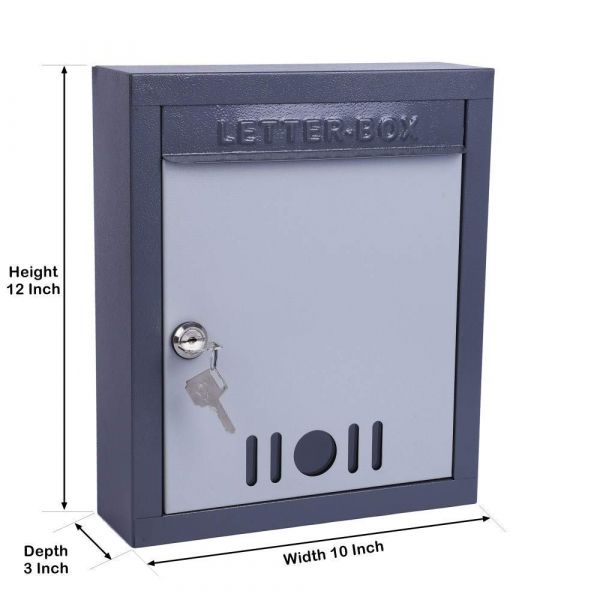 Plantex High Grade Metal Wall Mount A4 Letter Box - Mail Box/Outdoor Mailboxes Home Decoration with Key Lock (Dark Grey)